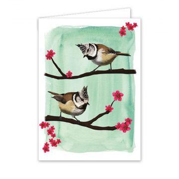 Carte de vœux mésange huppée - Myrte