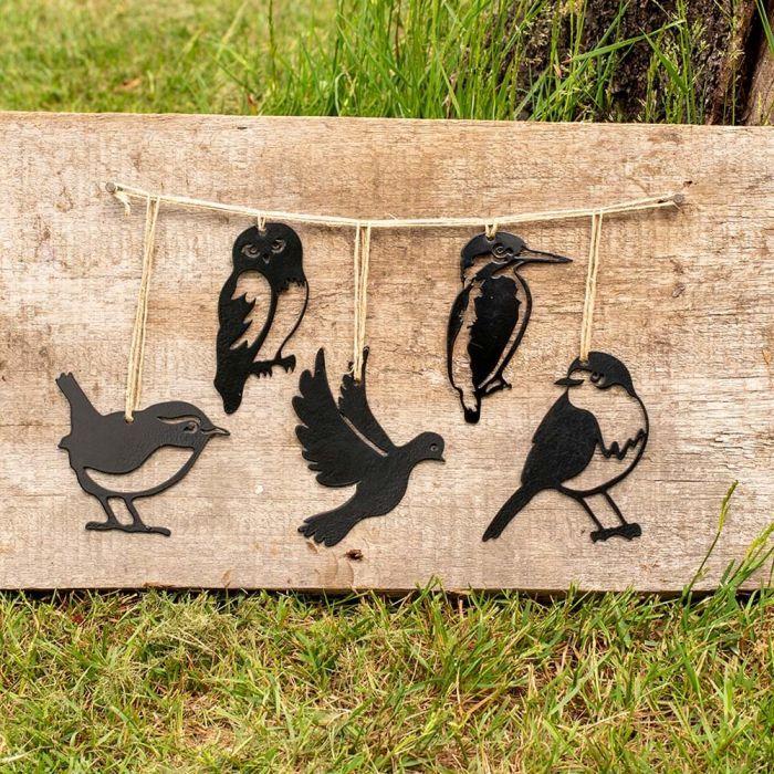 Lot de silhouettes d'oiseaux en métal