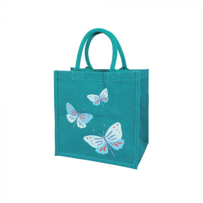 Sac de courses en toile de jute avec papillons