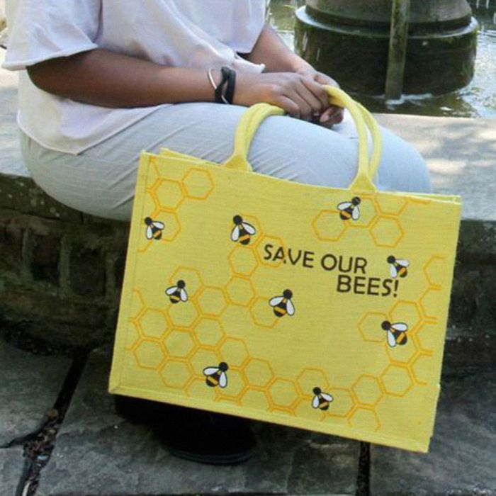 Sac de courses en toile de jute Save our Bees